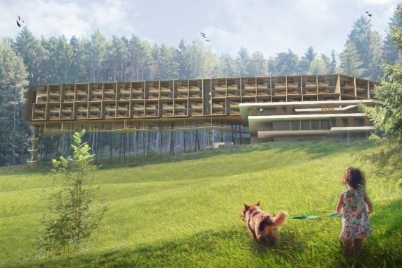 nasce l hotel tra gli alberi per il rilancio della plose bolzano alto adige. Black Bedroom Furniture Sets. Home Design Ideas